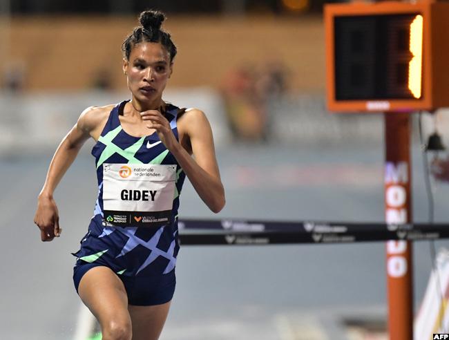 Ethiopian athlete Letesenbet Gidey raced to a new women's 5,000m track world record