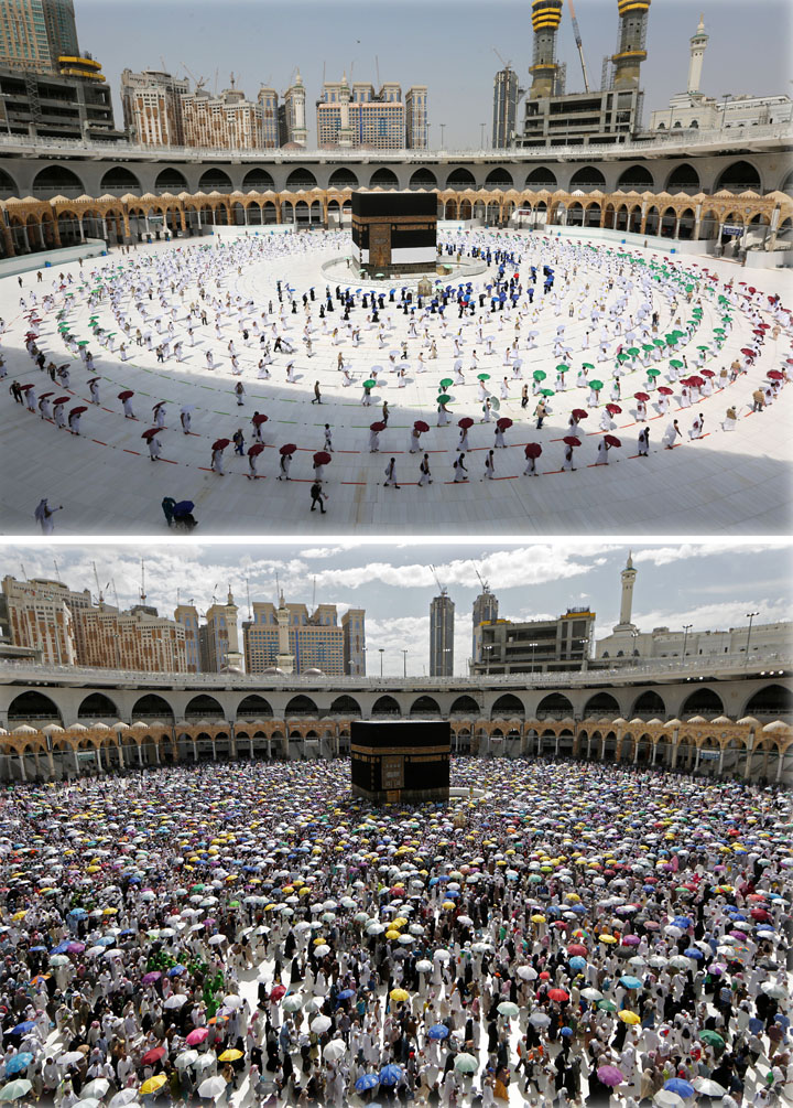 This combination of pictures shows Muslim pilgrims holding coloured umbrellas along matching coloured rings separating them as a COVID-19 coronavirus pandemic measure (Photo by AFP)
