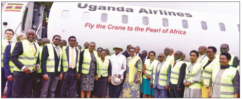 President Museveni and senior Government officials receiving  the first fleet of Uganda Airlines aircraft
