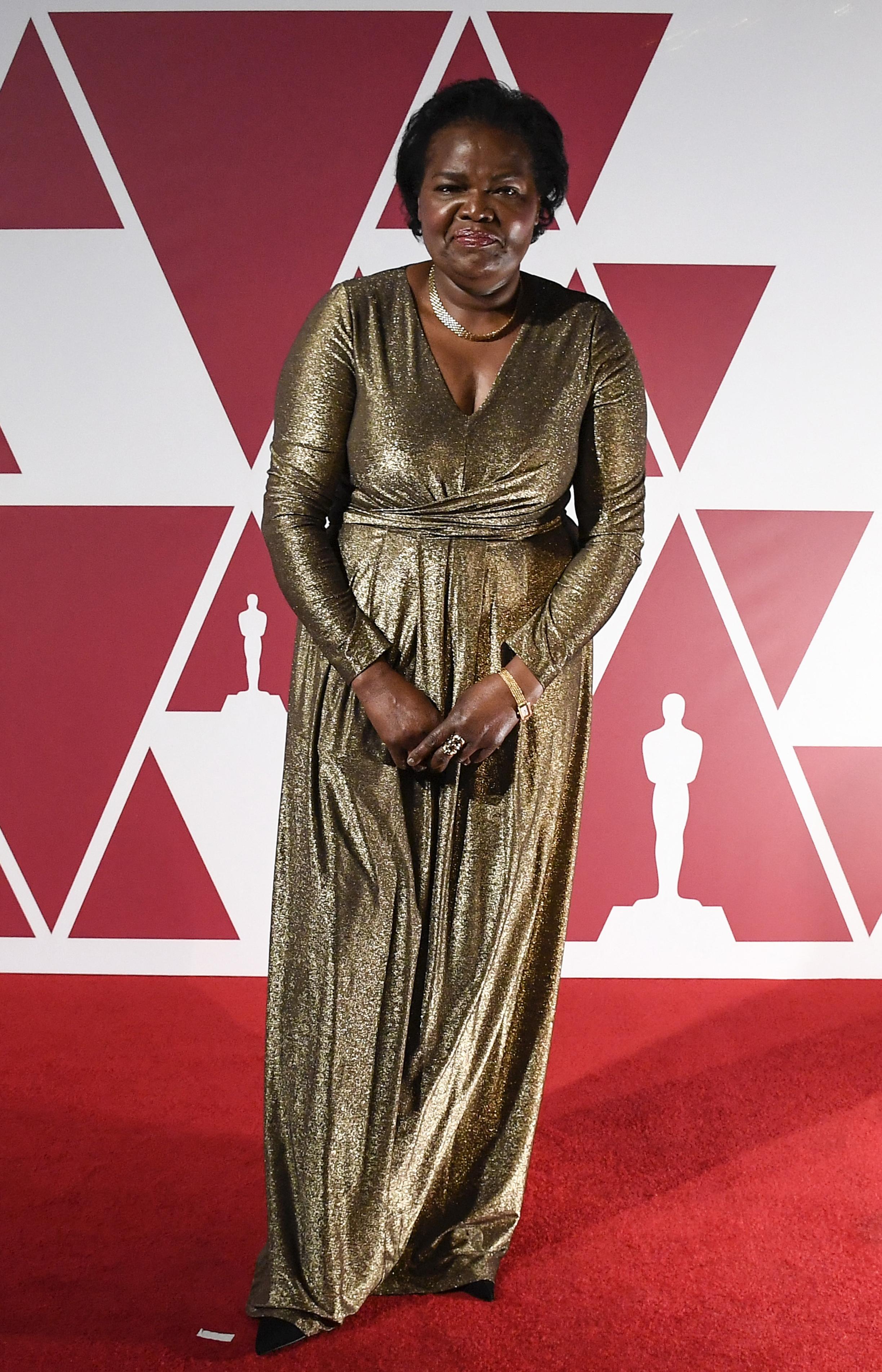 Damalie Namusoke, mother of Oscar nominee British actor Daniel Kaluuya, arrives for a screening of the Oscars on April 25, 2021 in London. AFP PHOTO
