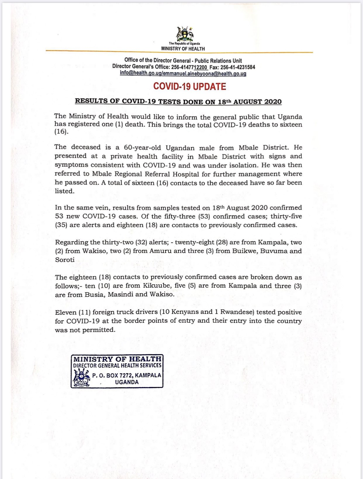 MoH statement on COVID-19