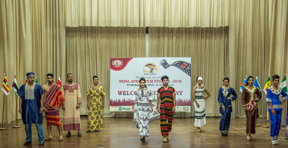 Nepalese students exhibiting African wear during the 5th Nepal Africa Film Festival (NAFF) held at College of Journalism and Mass Communication in Kathmandu, Nepal in September 2016 by NORHED project.