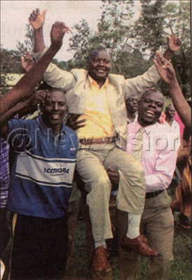 Kyeyune is lifted by supporters