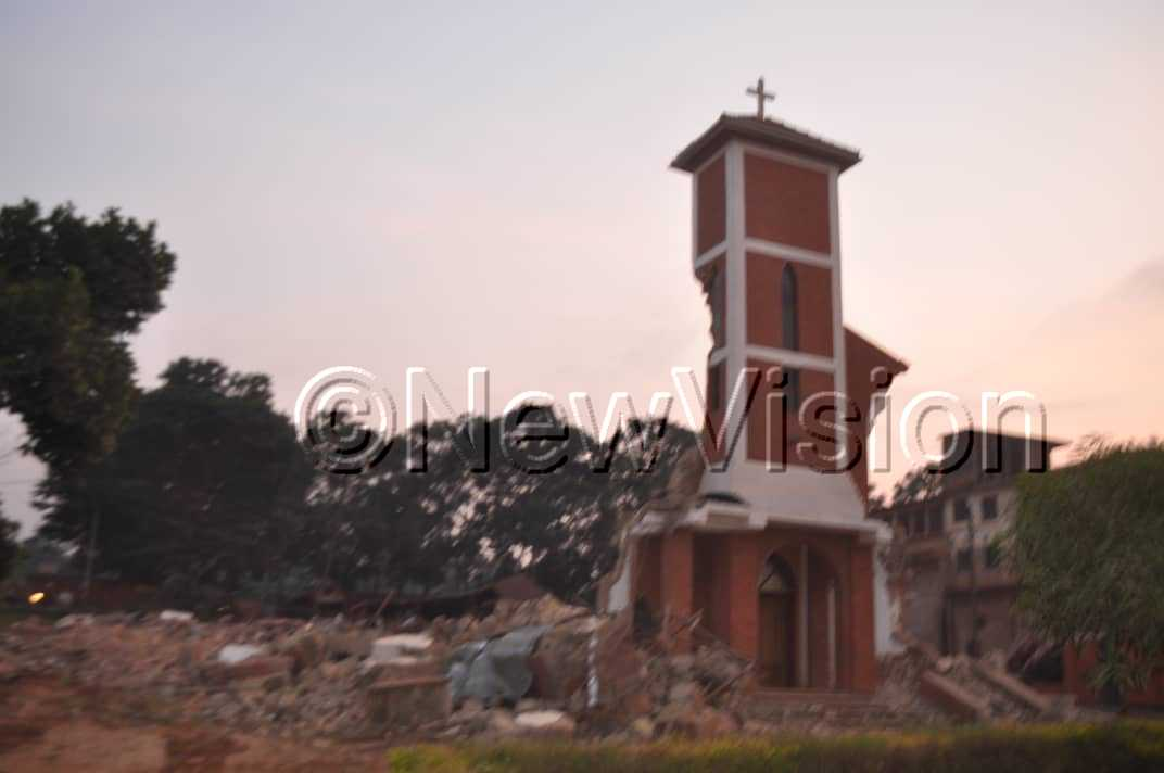 St. Peter's Church was brought down in the middle of the night. Photos/Videos by Ponsiano Nsimbi