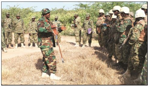 Then commander of UPDF contingent in AMISOM Brig. Kayanja Muhanga addressing soldiers as he was directing operations in Lower Shabelle Region of Somalia in July 2017