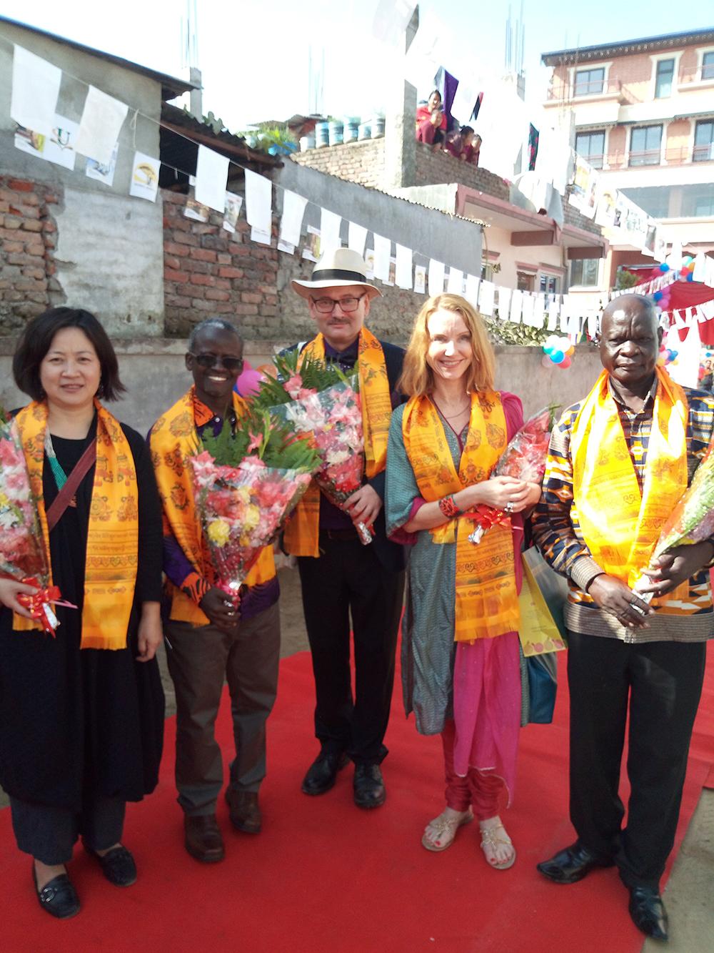 Project team members at the 2018 Nepal Africa Festival (L-R) Dr. William Tayeebwa, Erik Eileng, Prof. Kristin Skare Orgeret and Dr. Chaplain Kara Yokoju.